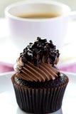 Chocolade Cupcake met vork Stock Fotografie