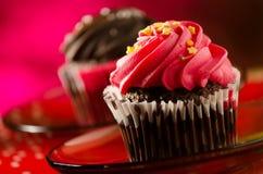 Chocolade cupcakes stock foto's