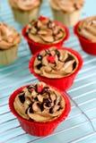 Chocolade cupcakes Stock Afbeelding