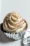 Chocolade cupcakes met roomvanille Royalty-vrije Stock Fotografie