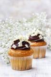 Chocolade cupcakes voor huwelijkspartij Stock Foto