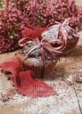 Chocolade cupcakes voor Kerstmis Royalty-vrije Stock Afbeelding