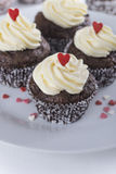 Chocolade cupcakes voor Valentijnskaartendag Royalty-vrije Stock Afbeeldingen