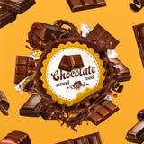 Chocolade, 3d vectoretiket royalty-vrije illustratie