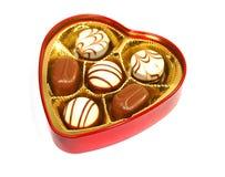 Chocolade in de doos van de hartvorm Royalty-vrije Stock Afbeelding