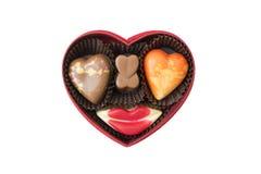 Chocolade in de doos van de hartvorm Stock Foto's