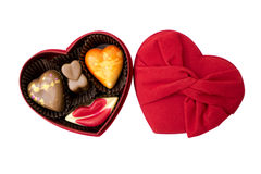 Chocolade in de doos van de hartvorm Stock Afbeeldingen