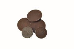 Chocolade in de vorm van Euro Stock Foto's