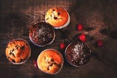 Chocolade donkere muffins op houten achtergrond met gepoederde suiker Royalty-vrije Stock Fotografie
