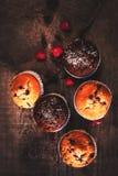 Chocolade donkere muffins op houten achtergrond met gepoederde suiker Royalty-vrije Stock Afbeelding