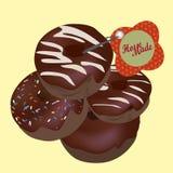 Chocolade Donuts. Vector Eigengemaakte Doughnuts Royalty-vrije Stock Foto