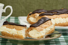 Chocolade eclairs Stock Foto