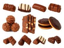 Chocolade en chocolade Royalty-vrije Stock Afbeeldingen