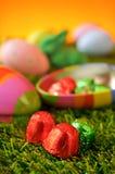 Chocolade en estar eieren op het gras Royalty-vrije Stock Afbeelding