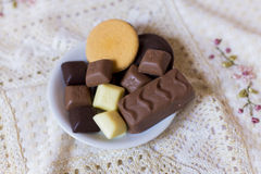 Chocolade en koekjes Royalty-vrije Stock Foto
