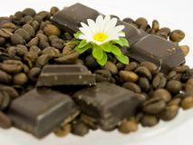 Chocolade en koffie Stock Foto