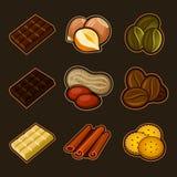 Chocolade en koffiepictogramreeks vector illustratie