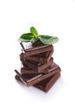Chocolade en munt Stock Fotografie