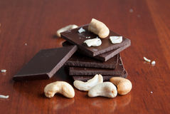 Chocolade en noten Stock Fotografie