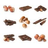 Chocolade en notencollage Stock Afbeeldingen