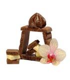 Chocolade en orchidee royalty-vrije stock afbeelding