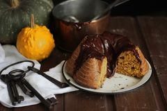 Chocolade en pompoencake Stock Foto's