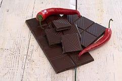 Chocolade en Spaanse peper stock afbeelding