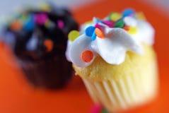 Chocolade en vanille cupcakes royalty-vrije stock afbeelding