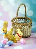 Chocolade foiled verpakte konijntjes voor Pasen royalty-vrije stock foto