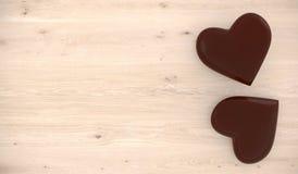 Chocolade Gevormde Harten op Houten Furface Stock Fotografie