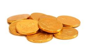 Chocolade Gouden Muntstukken Stock Afbeeldingen