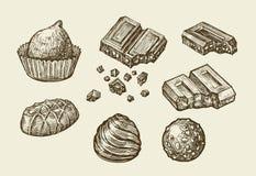 chocolade Hand getrokken schetssnoepjes, karamel, suikergoed, bonbon, snoepje Vector illustratie stock illustratie