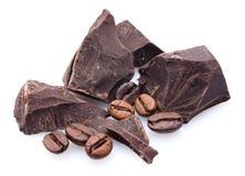 Chocolade, koffiebonen Stock Afbeeldingen
