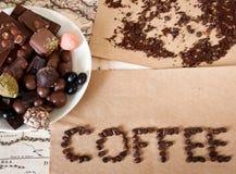 Chocolade, koffiebonen, suikergoed royalty-vrije stock foto's