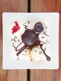 Chocolade Lava Cake Stock Foto's