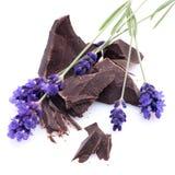 Chocolade, lavendel Stock Foto