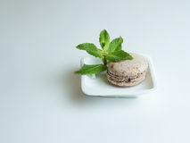 Chocolade macaron op een witte plaat Stock Foto's