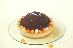 Chocolade, Mango en Macadamia Cake Stock Fotografie
