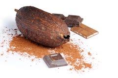 Chocolade met cacao Stock Afbeeldingen
