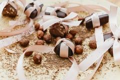 Chocolade, met linten wordt verbonden dat Stock Afbeelding