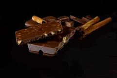 Chocolade met noten Stock Foto