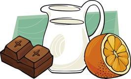 Chocolade met pot van melk en sinaasappel Stock Foto's