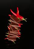 Chocolade met rode Spaanse peperpeper Stock Foto