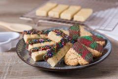 Chocolade ondergedompelde koekjes en zandkoek op een plaat Stock Afbeeldingen