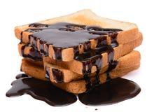 Chocolade op geroosterd brood Stock Foto