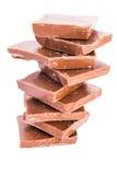Chocolade op witte achtergrond Stock Afbeelding
