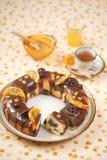 Chocolade Oranje Marmeren Cake Stock Afbeeldingen