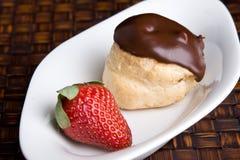 Chocolade Profiterol en het Dessert van de Aardbei Stock Afbeeldingen