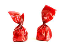 Chocolade in rood Stock Foto