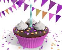 Chocolade roze cupcake voor een meisje Stock Afbeeldingen